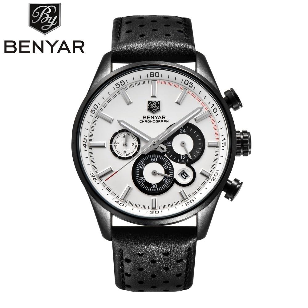 BENYAR Sport Chronograph Watches Men Luxury Brand Waterproof Genuine Leather Quartz-watch erkek kol saati Relogio Masculino xfcs