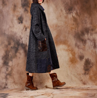 [Ol] 2017秋冬新しいウールウールヴィンテージに刺繍緩いコートカジュアルプラスサイズジャケットウール&ブレンドa679