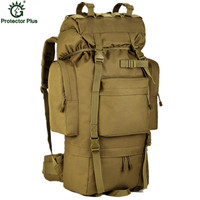 Large Capacity 70L Metal Bracket 2016 Men Backpack Multi function Waterproof Nylon Bag Camouflage Pack Free Shipping