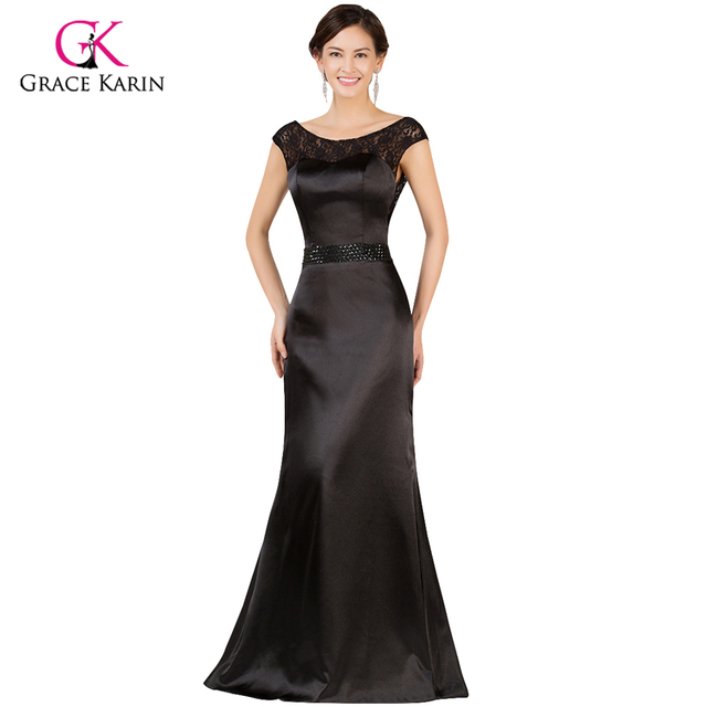 Aliexpress.com : Buy Black Evening Dresses Grace Karin Lace V Back ...