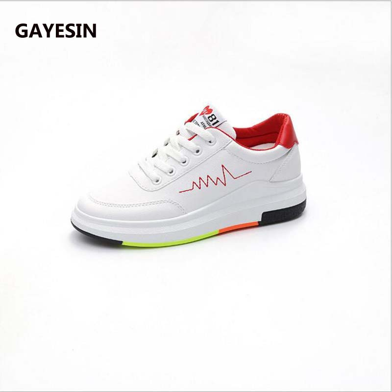 ea815a6fa5d GAYESIN Spring Summer With White Shoes Women Flat Leather Canvas Shoes  Female White Board Shoes Casual Shoes Female white mujer-in Women s  Vulcanize Shoes ...