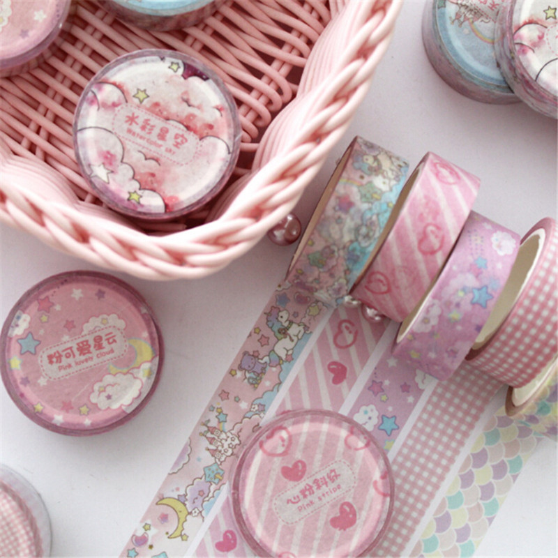 1.5 Cm Wide Lovely Pink Animal Sky Cartoon Washi Tape Adhesive Tape DIY Scrapbooking Sticker Label Masking Tape Stationery