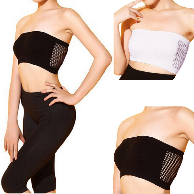 Women Sexy Strapless Top Vest Breathable Sports Bras Bandeau Boob Tube Sexy Lingerie Hot Gym Yoga Underwear