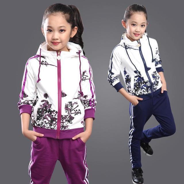Crianças Agasalho Para As Meninas Idade 6-14 Floral Zipper Hoodies + calças Conjuntos de Roupas Meninas 2016 Primavera Meninas Miúdos Hoodies Moletom