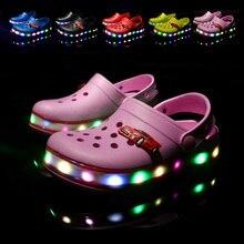 Обувь для мальчиков и девочек; Светодиодный свет; модные летние детские сандалии; пляжная обувь; очаровательные Вьетнамки; тапочки; детская обувь из ЭВА