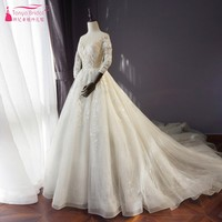 Long Sleeves A Line Lace Tulle Wedding Dresses vestido de noiva Long Train Bridal Dress Muslim Wedding Dress DQG522