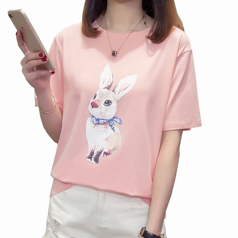 2019 Summer Bunny Print Bottoming Female T-shirt Fashion Loose T Shirt Women Large Size Women Tshirt All Match Plus Size Tshirt