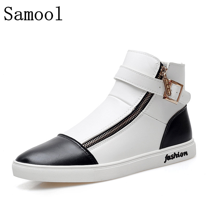 High Top Men Casual Shoes Genuine Leather Flat Shoes Autumn Winter Men Zipper Casual Shoes Warm Fashion 2017 Male Footwear winter warm high quality outdoor men shoes comfortable casual shoes men fashion genuine leather high top flats for men xxz5