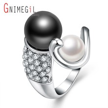 GNIMEGIL Brand Jewelry White & Black Ring for Women Wedding Finger Ring Nice Christmas Gift Women Crystal Simulated Pearl Rings