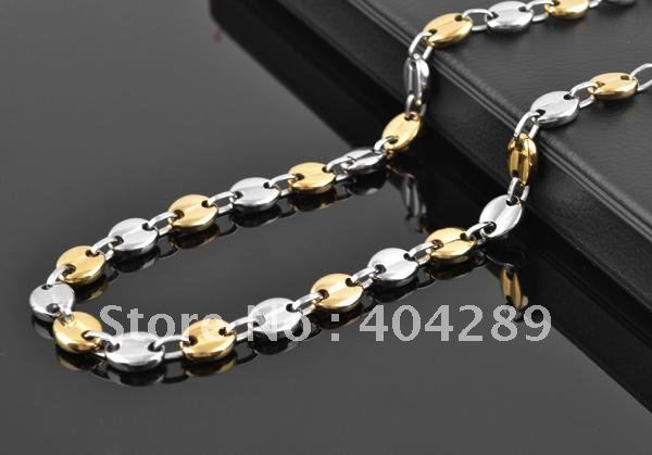 Mens Gold & Silver 11x9mm Solid 316L Stainless Steel Coffee Bean Chain Necklace SXL006