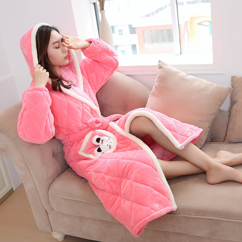 Hooded Bathrobe For Women Three Layers Quilted Warm Robe Homewear Ladies Winter Plush Coral Fleece Sleepwear