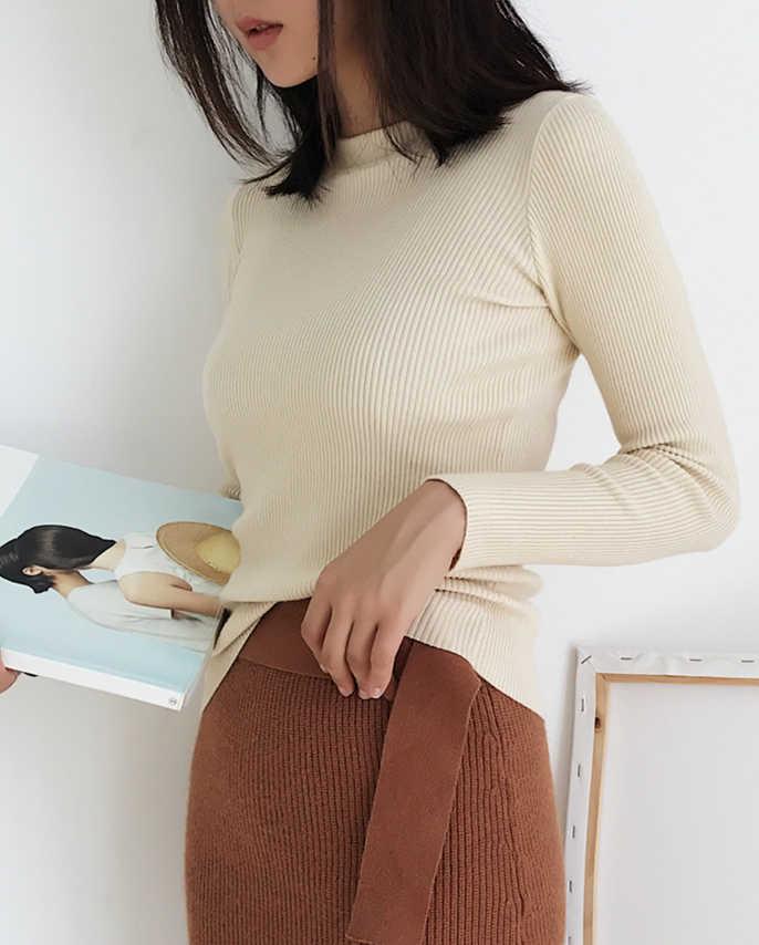 Nuovo 2019 Donne di Inverno di Autunno Che Basa La Camicia Slim Fit Pullover Maglione O Collo Ufficio Delle Signore Mori Ragazza Casual Elegante SW1026