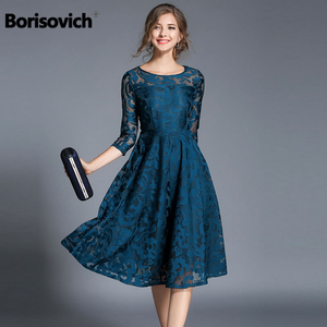 Image 1 - Borisovich 새로운 2018 봄 패션 영국 스타일 럭셔리 우아한 슬림 숙녀 파티 드레스 여성 캐주얼 레이스 드레스 Vestidos M107