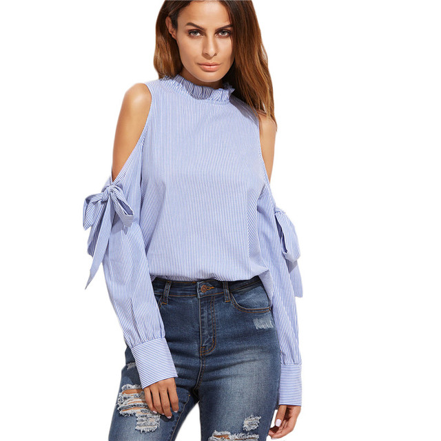 b5d1605285a5 Striped Women Off Shoulder Blouse Shirts Long Sleeve Blue Casual Loose  Shirts Top Summer Women Blouses Clothing