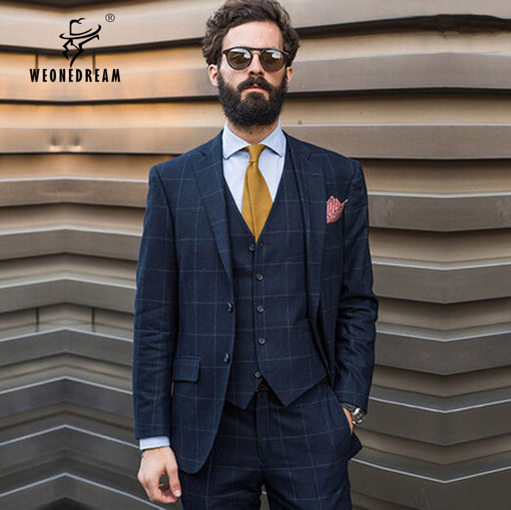 WEONEDREAM New Custom Made Men Plaid Suit,blue Plaid Suits for Men ...