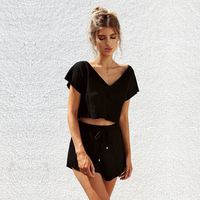 2018 Whatiwear Summer Women Set Two Piece Set Fashion Top And Pants Crop Top Moletom Feminino
