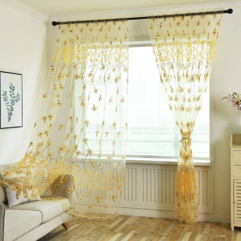 Tropical Floral Print Semi Sheer Curtains For Living Room