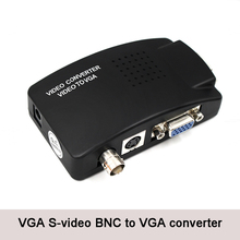 BNC to VGA Video Converter, S-video Input PC Out Adapter Digital Switcher Box For TV Camera DVD DVR