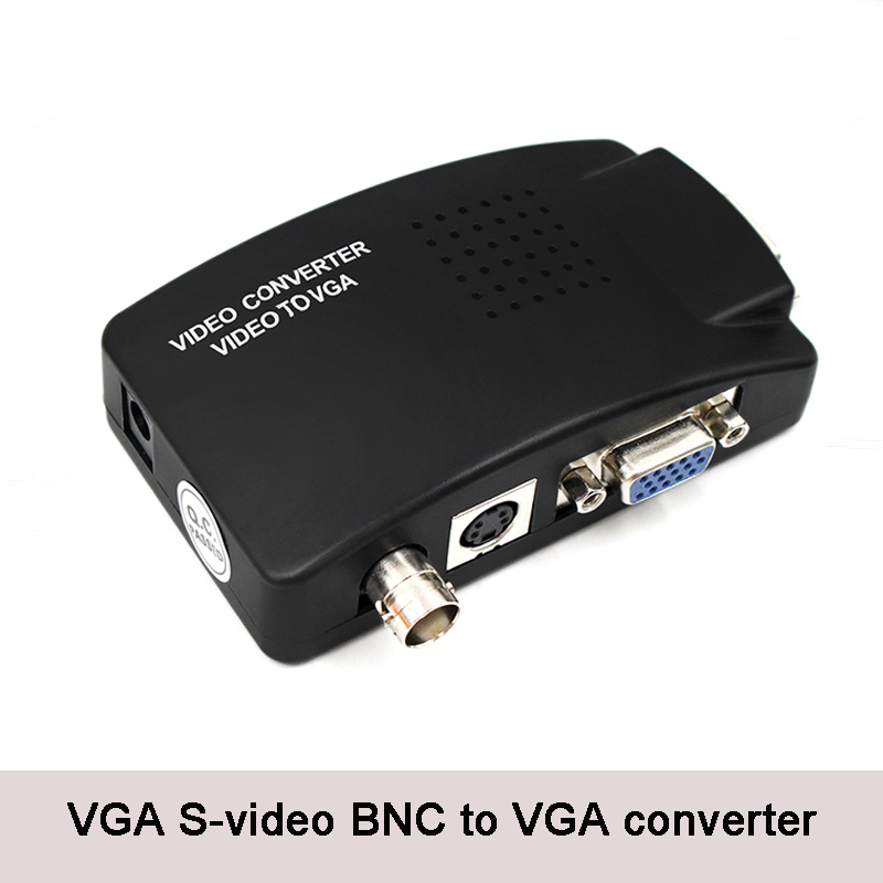 S-Video VGA BNC To VGA Converter Composite Adapter Switch Box For HDTV Camera DVD DVR Projector PC TV Box 1920X1200 60Hz