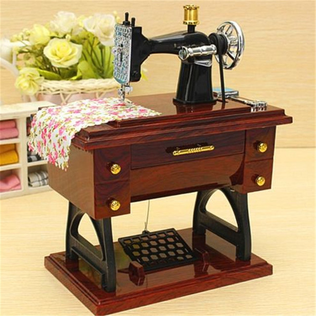 FD40 new Animated Mini Sewing Machine Music Box Mechanical Model Adorable Sewing Machine Music Box