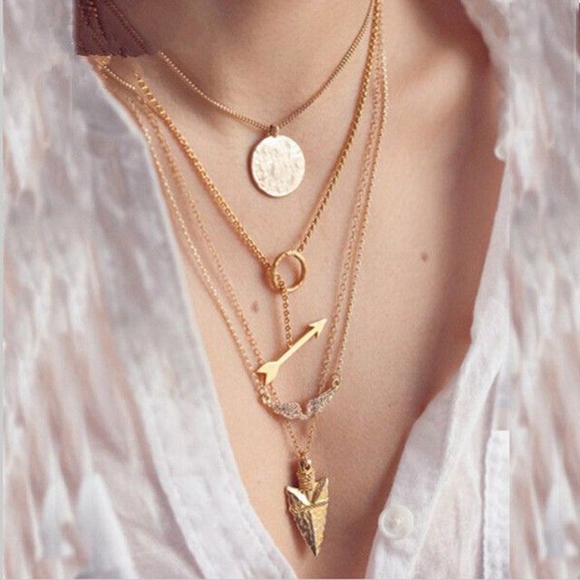15b153f78616b US $0.99 |Hot summer style 4 layer arrow design necklace pendant charm gold  choker necklace women multi layer Handmade jewelry-in Chain Necklaces from  ...