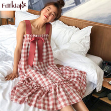 Fdfklak Sweet plaid homewear dress cotton ladies nightdress sexy sleeveless nightgowns women summer sleep wear nightshirt