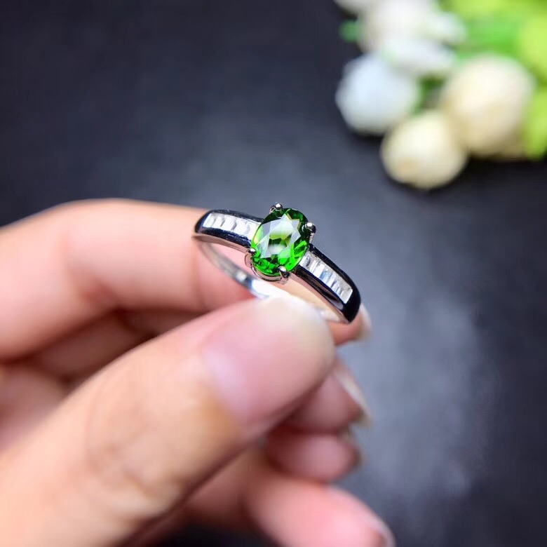 Natuurlijke Getest Diopside Ringen voor Vrouwen, 925 Sterling Zilver, 5*7mm * 1 Pcs Edelsteen Geboortesteen Sieraden Certificaat en Doos FJ417-in Ringen van Sieraden & accessoires op  Groep 2