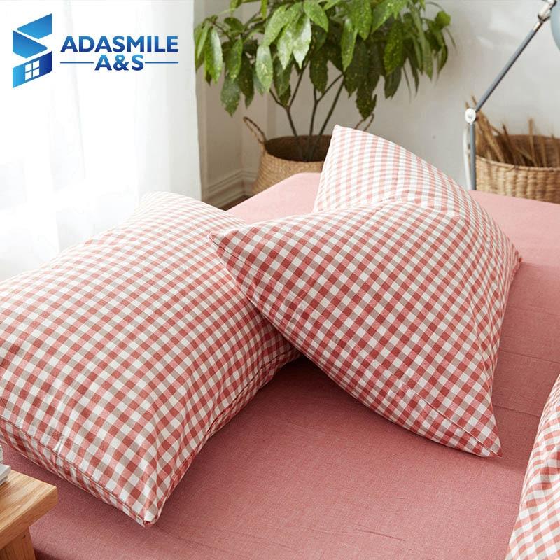 1piece100% Cotton Plaid Color Bedding Pillow Cover 48*74cm Rectangular Pillowshams Pink/Blue/Grey Single Sleeping Bed Pillowcase