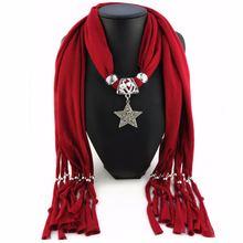 Lureme женский шарф ожерелье звезда кулон однотонный длинный