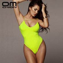 OMCHION Ropa Mujer 2019 Sommer Tiefe V Neck Neon Farbe Bodycon Frauen Beiläufige Dünne Sexy Mantel Backless Overall LLT40(China)