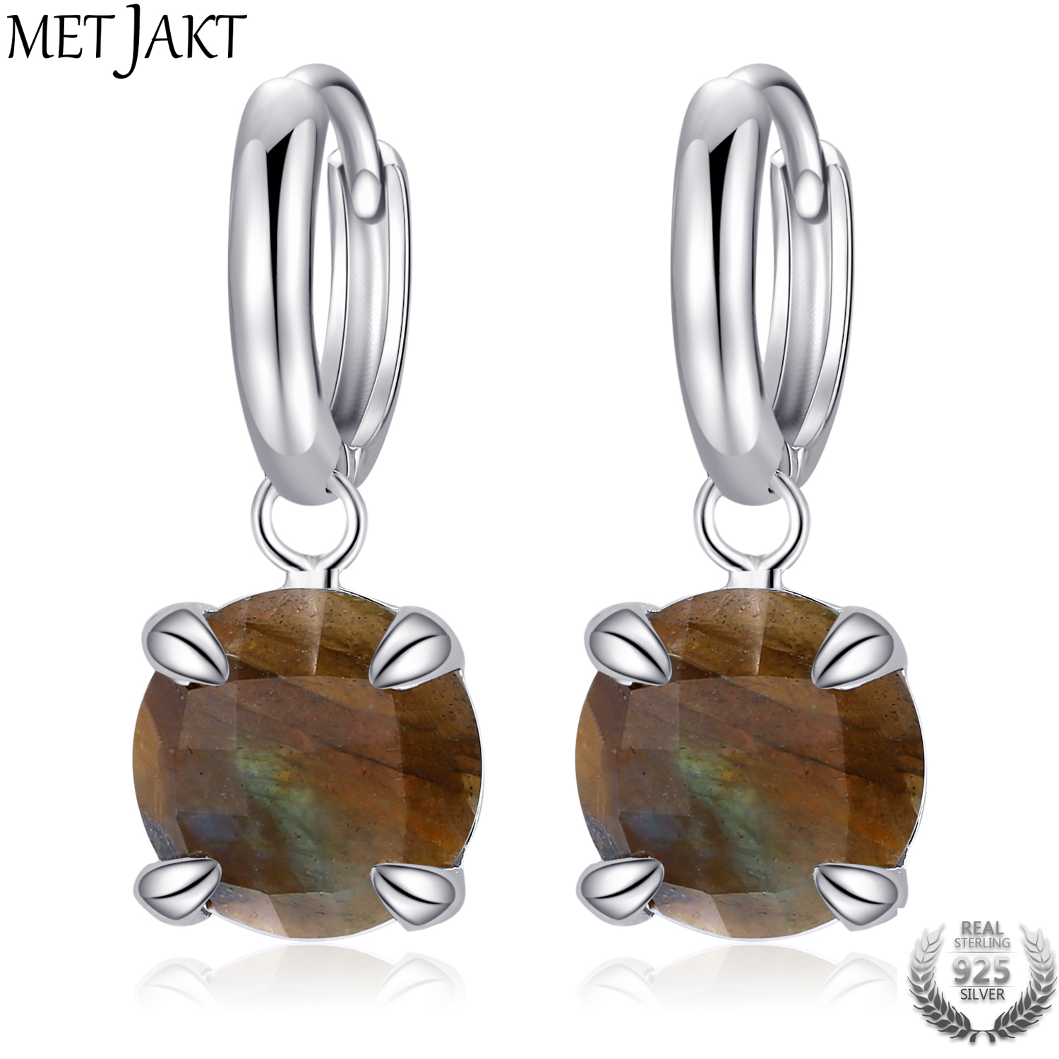 MetJakt Genuine Natural Labradorite Drop Earrings Solid 925 Sterling Silver Fashion Jewelry for Women Vintage Jewelry