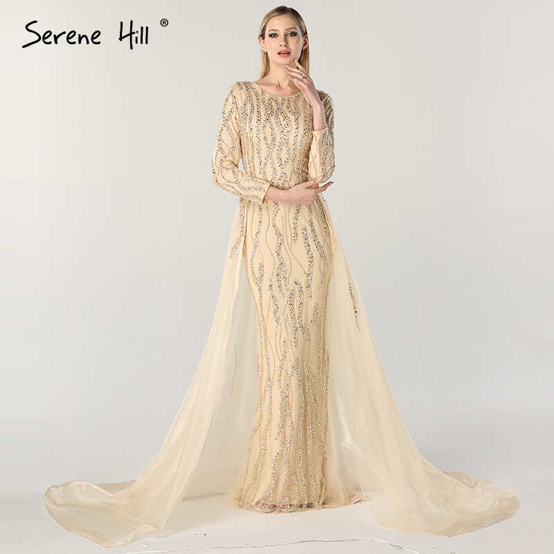 d60091ef5d5b8 Dubai Designer Luxury Arabic Evening Dresses Nude Long Sleeves ...