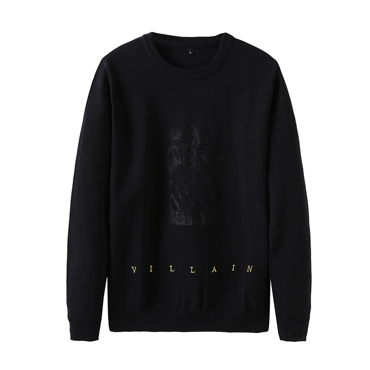 New 2018 Man Luxury Gentleman Embroidery Villain Rabbit Knit Casual Sweaters Pullovers Asian Plug Size High Quality Drake #H80