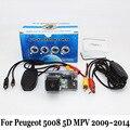Cámara de Visión Trasera Para Peugeot 5008 5D MPV 2009 ~ 2014/RCA AUX Cable O Inalámbrica/CCD Visión Nocturna de HD de Gran Angular de Lente cámara