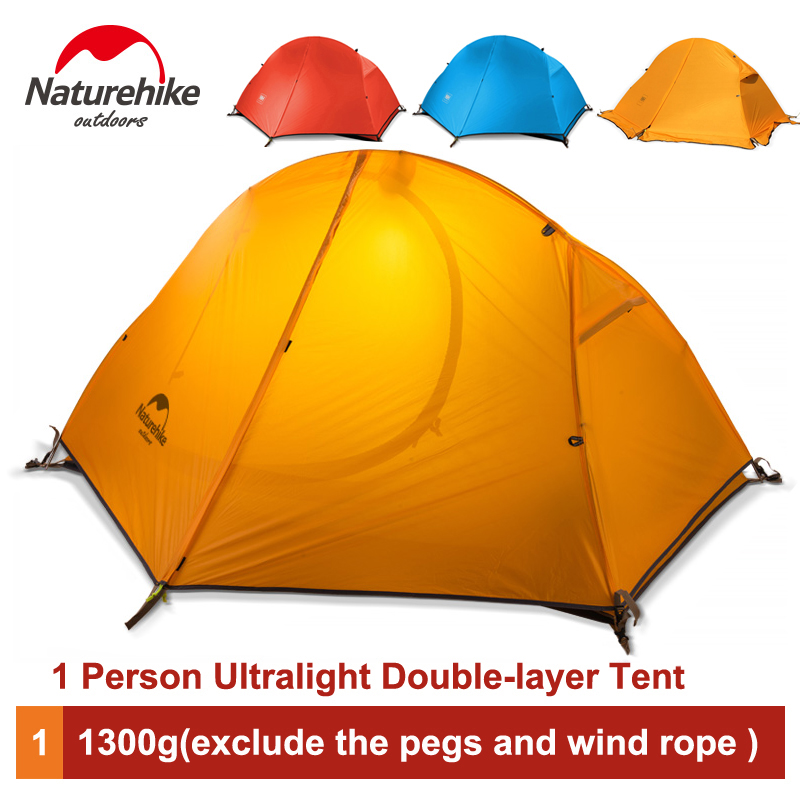 Naturehike Outdoor 1 Person Tent Double layer Professional Camping Riding Wild Ultralight Tent with Footprint