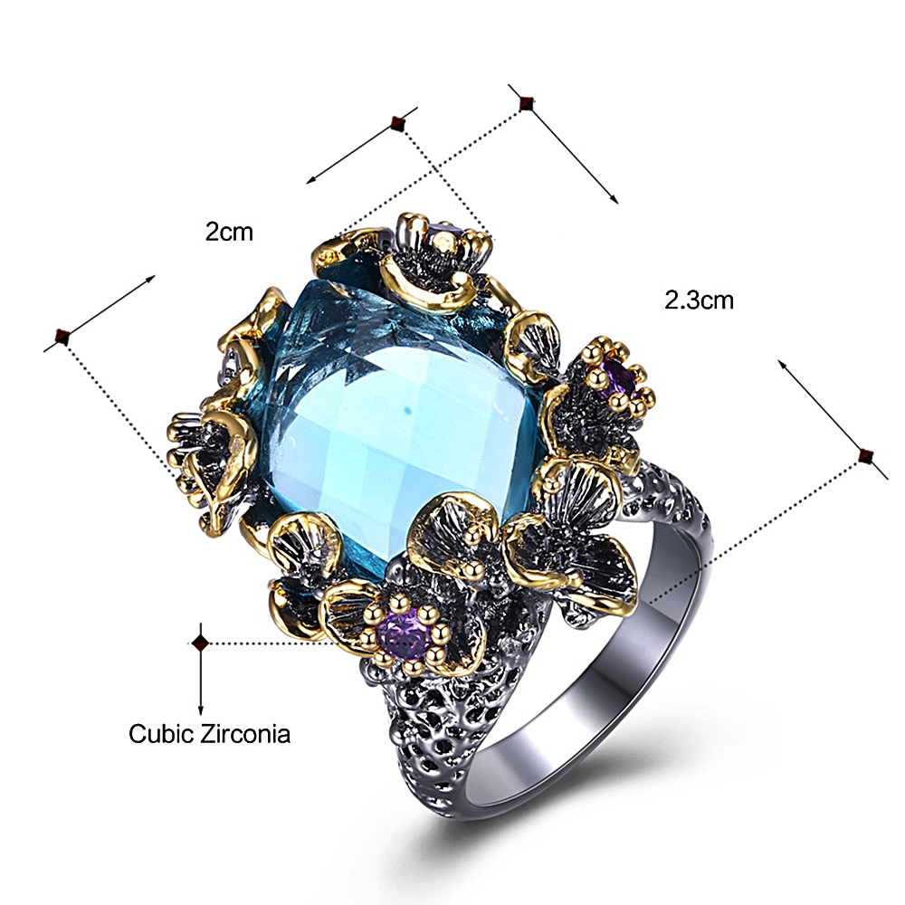 Image 2 - DreamCarnival 1989 New Arrivals Unique Big Rings for Women Blue Zirconia Surround by Purple Flowers Party Gift Drop Ship WA11553Rings   -
