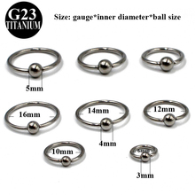 1Pcs Grade G23 Titanium Captive Bead Ring Nose Rings Hoop Helix Daith Cartilage Tragus Earrings Nipple Eyebrow Body Piercing