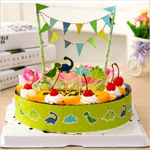 dinosaur birthday party cake topper child baby boy kids children decoration supplies flags