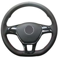 Black Leather Car Steering Wheel Covers for Volkswagen VW Golf 7 Mk7 New Polo Jetta Passat B8 Tiguan Sharan Touran Up