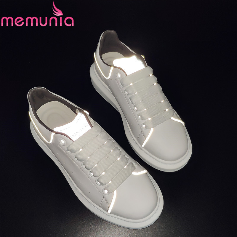 MEMUNIA 2019 Cow Leather Women Sneakers Lace Up Flats Round Toe Reflective Spring Autumn Platform Flat Shoes Ladies Casual Shoes