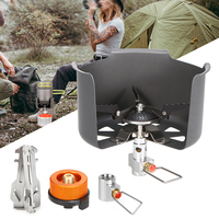 Outdoor Camping Stove Set Foldable Gas Stove Windshield Folding Cylinder Tripod Holder Gas Refill Adapter Cylinder Adapter Head