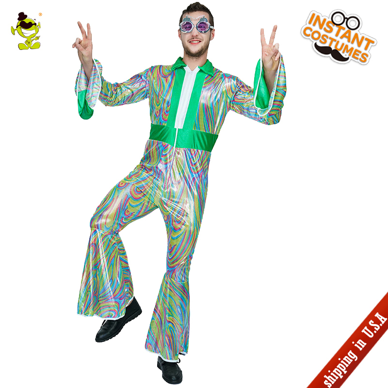 QLQ  Man 70's 80's Disco Costume Role Play Disco Jumpsuit in Carnival Party Masquerade 70's Disco Clothing