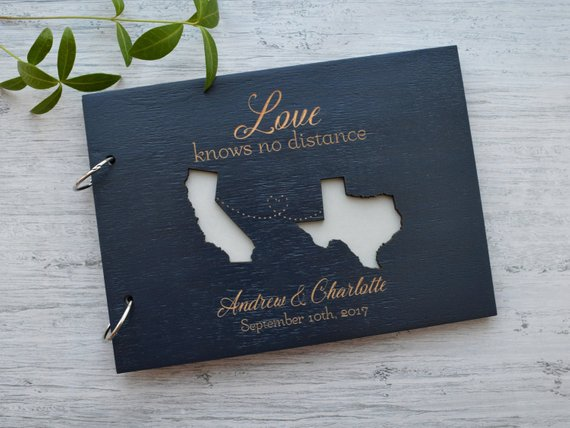 Personalized USA States Map Engraved Wedding Guest Book,Love Knows No  Distance Custom Distance Relationships Travel Wedding Map