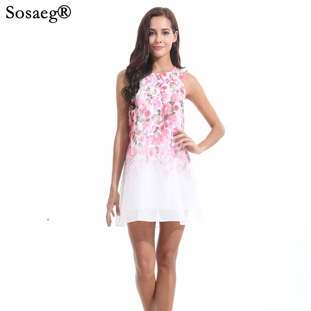 Sosaeg Soft women Summer Sleeveless Chiffon Dress beach clothes sundresses Print casual bohemian spring ladies dresses