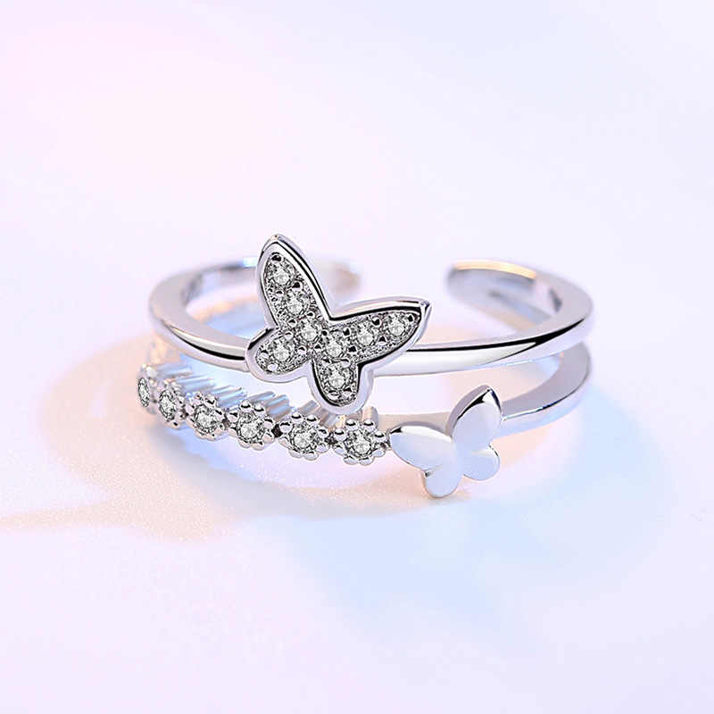Crazy Feng Ladies Fashion Crystal Double Butterfly Open Rings Rhinestone Zirconia Wedding Rings for Women Gift Jewelry 2018 New