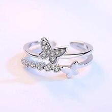 Crazy feng anéis de casamento femininos, anéis abertos com borboleta dupla de cristal, strass, zircônia, presente para mulheres, 2018