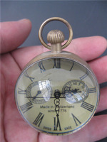 Elaborate Chinese handmade old copper glass mechanical pocket watch