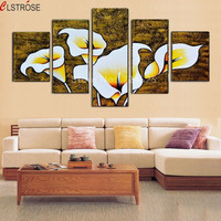 No Frame 5 Panels Modular Flower Calla Lily Modern Wall Art Home Decor Canvas Painting For