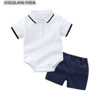 Newborn Baby Boys Clothes Set Summer 1st First Birthday Party Wedding Gentleman Infant Boys Clothing Suit Bodysuit + Pants