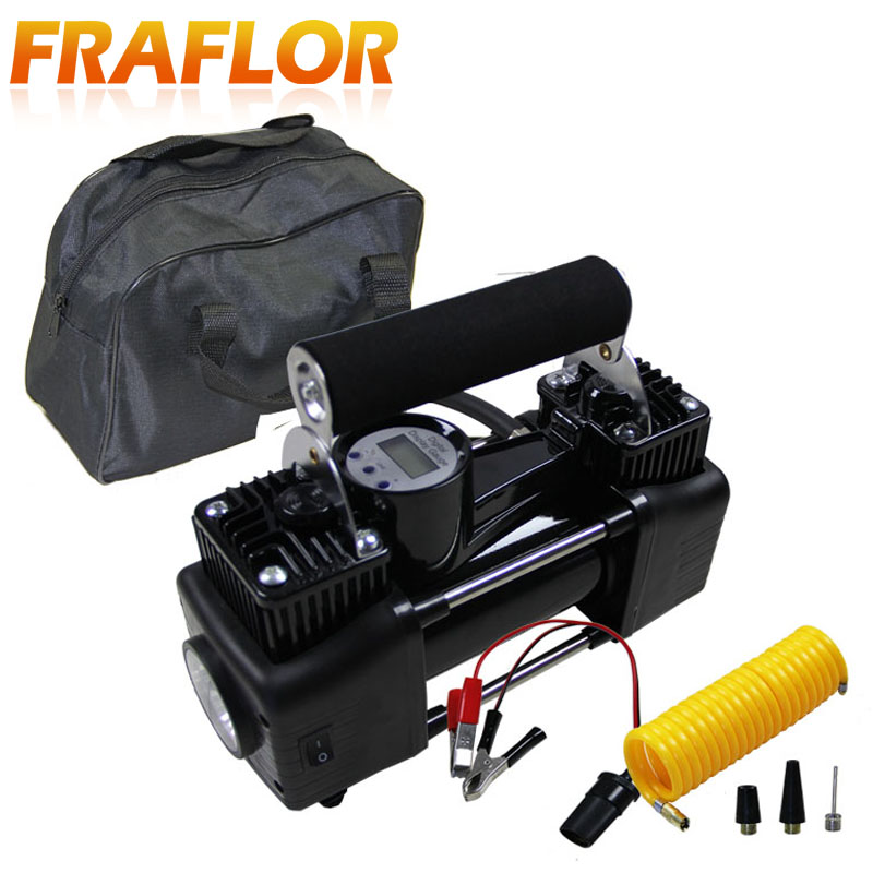 Image 4 - Car Tire Tyre Inflator Portable Metal Vehicle Auto Electric Pump Air Compressor Double Cylinder Digital Air Compressor-in Inflatable Pump from Automobiles & Motorcycles